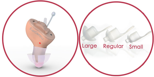 ear domes for completely-in-canal hearing aid
